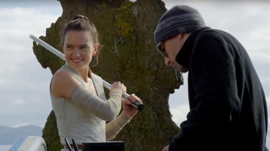 Daisy Ridley beim Lichtschwert-Kampf Training